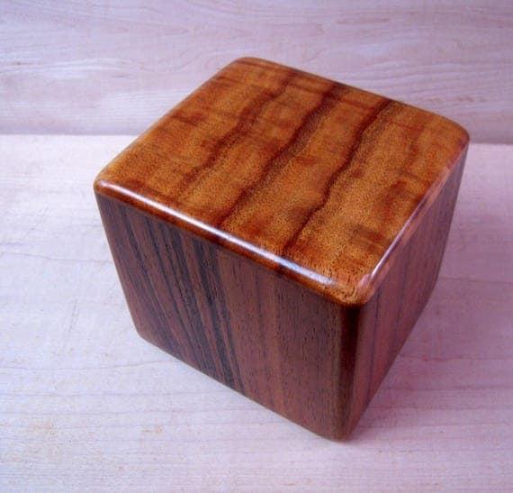 "Curly Hawaiian Koa  Pet or Infant Small Cremation Urn  4 3/4"" x 4 1/4"" x 4""  Custom Handmade Urns Ashes Memorial Keepsake Urn SM071217B"