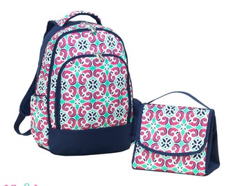 """Monogrammed """"Mia Tile"""" Back to School Collection - Backpack & Matching Lunch Tote"""