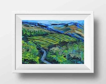 Vineyard Print, Napa Valley Art, California Landscape, Fall Vineyard, Giclee, Vines,5x7,8x10,11x14,12x16,Palette Knife Artwork by Lisa Elley