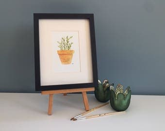 Potted Plant Watercolour Painting