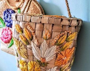 Beautiful Vintage Retro Rare 1950s Straw Woven Basket Bag Handbag