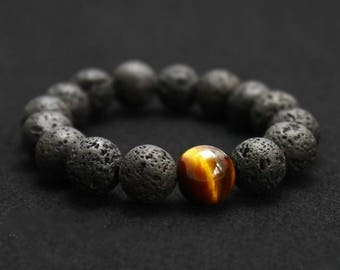 Black Volcanic Lava Stone Tiger Eye 12mm Beaded bracelet For Men  Fashion personality Jewelry 1 piece free delivery