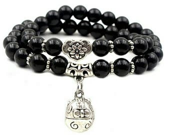 Natural black onyx beads bracelets women men jewelry wristband ancient silver lucky cats abacus pendant bracelet jewelry 0215 free delivery