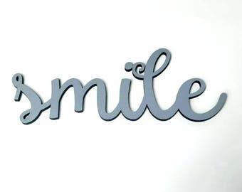 Smile Laser Cut Wood Word, Wood Sign, Living Room Decor, Farmhouse Decor, Home Decor, Kids Room Decor