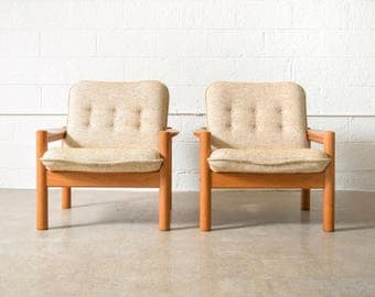 Mid Century Chairs, Mid Century Lounge Chairs, Beautiful Teak Domino Mobler Danish Modern Lounge Chairs, Made in Denmark - A Pair