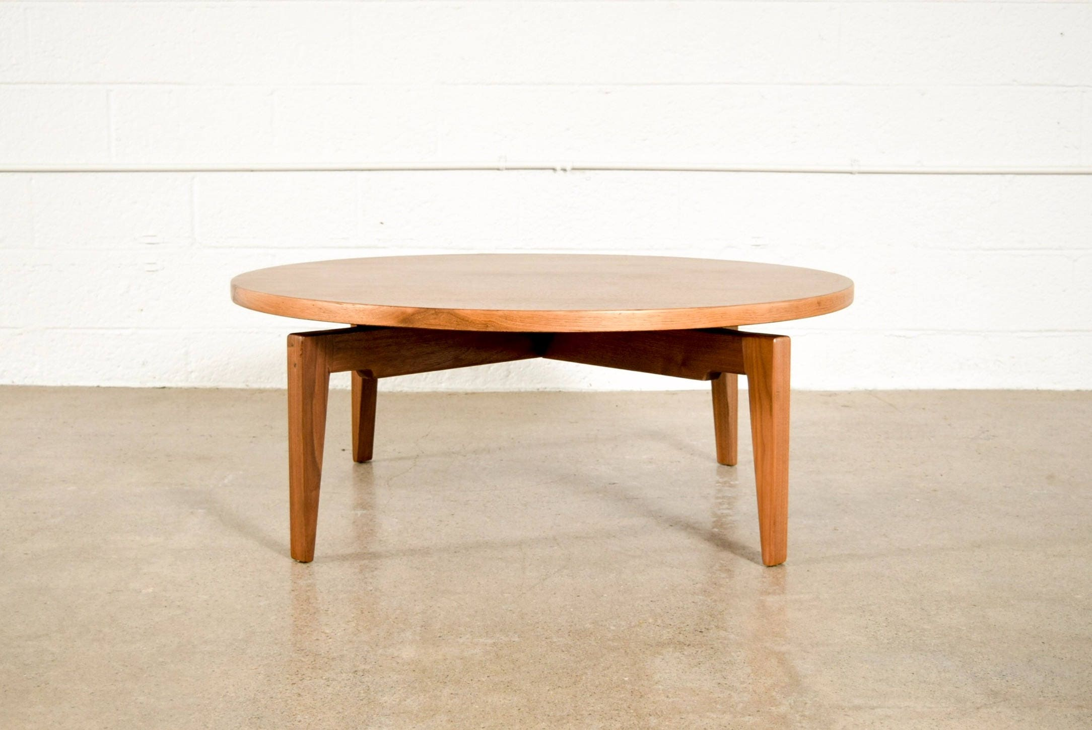 mid century coffee table jens risom rotating lazy susan round
