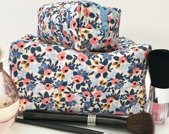 Blue Floral Mommy and Me Makeup Bag Set, Floral Makeup Bag Set, Blue Makeup Set, Monogram Bag, Gift Under 30, Gift for Her, Rifle Paper Co
