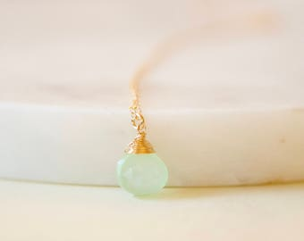 Green Chalcedony Necklace, Gold Filled Necklace, Teardrop Necklace, Briolette Necklace, Layer Necklace, Gemstone Necklace, Chalcedony