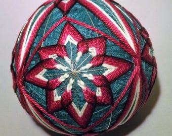 Japanese Temari Ball Teal and Magenta