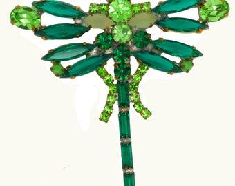 Czech Glass Green Rhinestone Dragonfly Pin