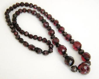 Faceted Bakelite Cherry Amber Necklace