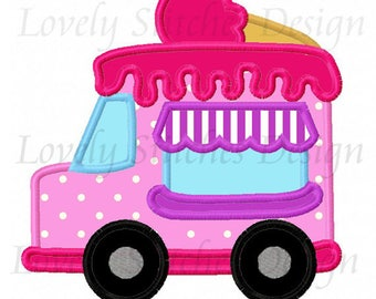 Ice cream van Applique Machine Embroidery Design NO:0626