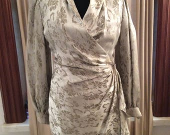Vintage Ungaro Parallèle Paris Silver damask wrap dress made in Italy 1980's