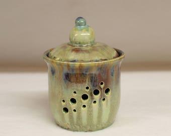 Green Crystalline Garlic Keeper, Garlic Jar