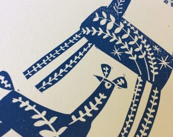 Dear Deer! A very limited edition of only 15 hand made lino prints.