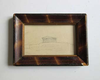 30's original drawing, Parthenon, Acropolis of Athens, framed