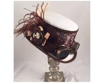 Steampunk Top Hats, Stempunk Shop, Steampunk Accessories, Steampunk Wedding, White, Brown, Goggles