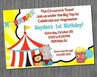 ON SALE Big Top Circus Birthday Invitation