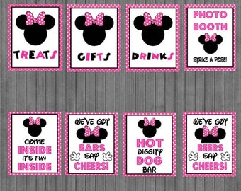 FLASH SALE Minnie Mouse Birthday Sign Package,  Hot Pink