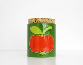 Vintage Jar with Cork Lid // West Germany Waechtersbach Green and Red Apple // Ceramic Storage Canister