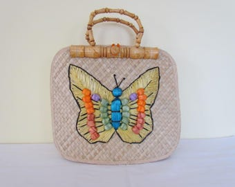 Pretty Vintage 1960s Woven Straw Multicolor 3D Butterfly Motif Handbag Bag Bamboo Handles MINT!