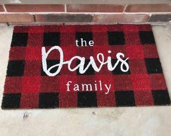 Holiday Door Mat Personalized | Buffalo Plaid | Christmas Gift