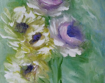 cluster of roses, vintage, purple and yellow acrylic painting