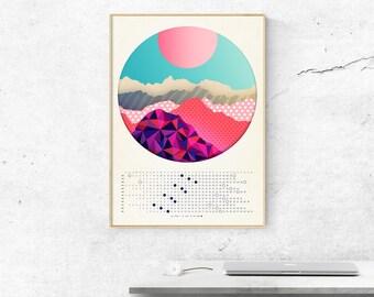 Moon Calendar 2018, Mountains, Lunar calendar 2018,  Wall lunar calendar- red and blue energy A3, A3+, A2 size, office decor, home decor