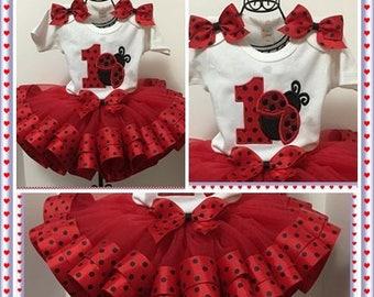 Birthday Lady Bug Red And Black Ribbon Tutu; Wide Ribbon  Fluffy Ribbon Tutu,Onezee ,Hair Bow;1st, 2nd, 3rd, 4th, 5th Birthdays