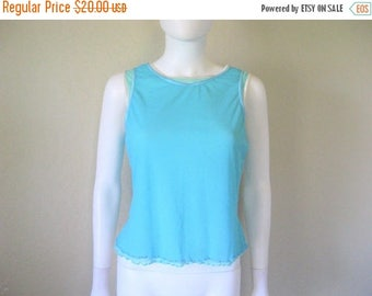 ON SALE semi sheer blue 2 layer Mesh Sleeveless Top