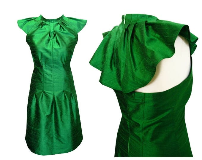 free shipping On Stock size Medium emerald Origami silkdress with wingsleeves
