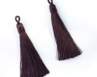 2.5 Inch Dark Chocolate Mala Tassel Tassle for Long Spiritual Necklaces and Bead Jewelry