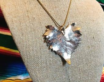 Vintage gold leafed leaf necklace