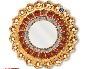 """Hand Painted Glass Round Wall Mirror ,'Red Flower""""-  Decorative Wood  Wall Mirror- Gold framed Mirror- Home Wall Decor- Peruvian Handicrafts"""
