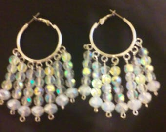 Iridescent and Opalite Beaded Hoop Earrings