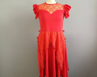 Vintage red dress / red hippie fairy like dress / red midi dress with lace / boho plain red dress / 80s red dress / festival dress / UK 10