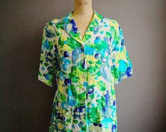 90s grunge blouse / short sleeve floral shirt / summer loud 90s shirt / womens 90s vintage shirt / oversized grunge blouse / large