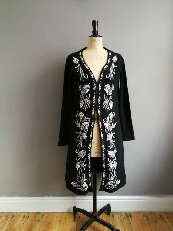 Black beaded cardigan / vintage embellished cardigan / long black cardigan jacket with beads and pearls / pearly queen / beaded evening