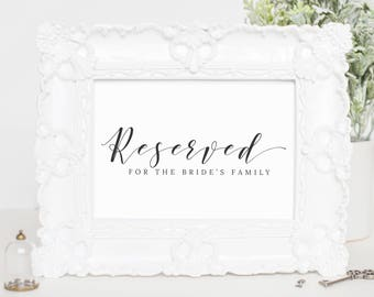 Reserved Sign Download, Instant Download Wedding Signs, Sign Wedding Download, Reserved Wedding Sign, Calligraphy Wedding Sign, WP007_10