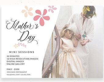 Mini Session Flyer, Mother's Day, Photoshop Template, Marketing Card, Marketing Kit, Mini Card Session, Mom and Me, Mommy and Me, c149
