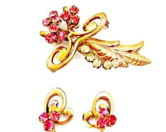 Pink Rhinestone Jewelry Set Brooch and Earrings