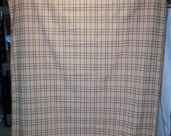 "Vintage Tan Check Tablecloth 45"" X 80"""