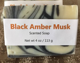 Black Amber Musk Scented Cold Process Soap
