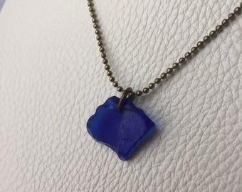 Rare Cobolt Blue Beach Glass Necklace