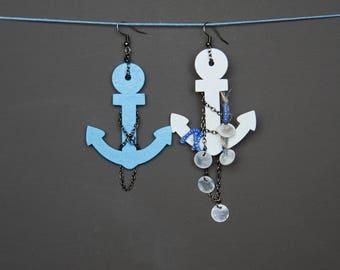Mismatched earrings Assymetric earrings Anchor earrings Beaded earrings Wooden earrings White Blue Black earrings Chain earrings Dangle