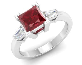 Ruby Engagement Ring, 14K White Gold, Princess Cut, Three Stone Ring, Ruby With Diamond Engagement Ring, Natural Ruby Ring, Ruby God Ring