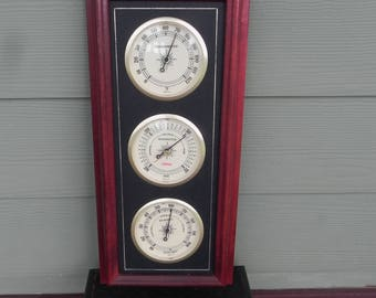 Sunbeam Wood Weather Station Humidity Barometer Thermometer -  Works!
