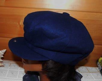 Harvard Custom Tailored England 100% Wool Dark Blue Newsboy Hat Cap - Size Medium