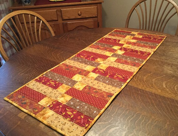 Quilted table runner, quilted fall table runner, quilted runner, table runner, fall floral table runner