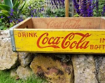 Rustic Yellow Wooden Coca Cola Crate, Rustic Storage, Man Cave, Rustic Home Decor, Primitive Box, Shabby Chic, Retail Display, Prop, Coke